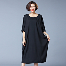 New Brand 2016 Summer Fashion European Style Plus Size Women Clothing Loose Casual Half Sleeve Dress Ladies Long Dress H775(China (Mainland))