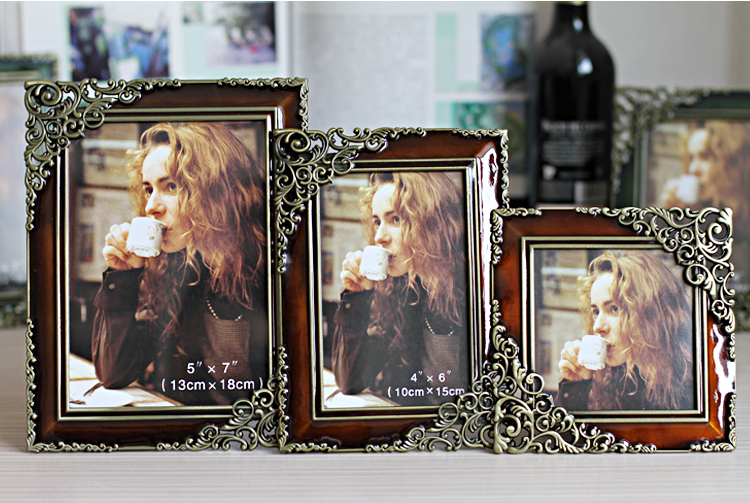 Very Fashion Popular Home Decor Classical Vintage 4Inch/6Inch/7Inch Rectangle Metal Photo Frame Set(China (Mainland))