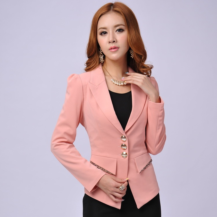 Formal Female Pink Blazers For Women Blazers And Jackets New 2015 Autumn And Winter Fashion ...