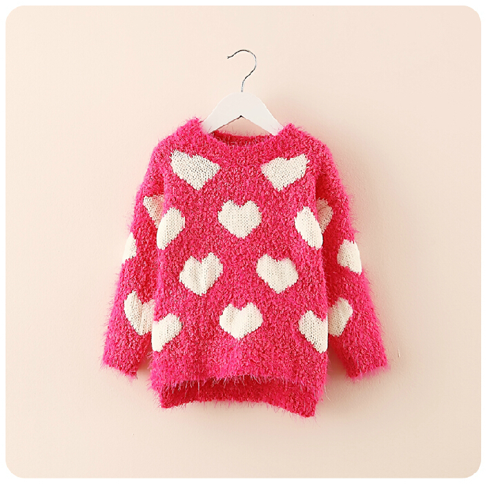 heart childrens sweaters new 2014 autumn winter Warm clothing turtleneck girls knitted sweater baby turtleneck suit 3-7T age(China (Mainland))