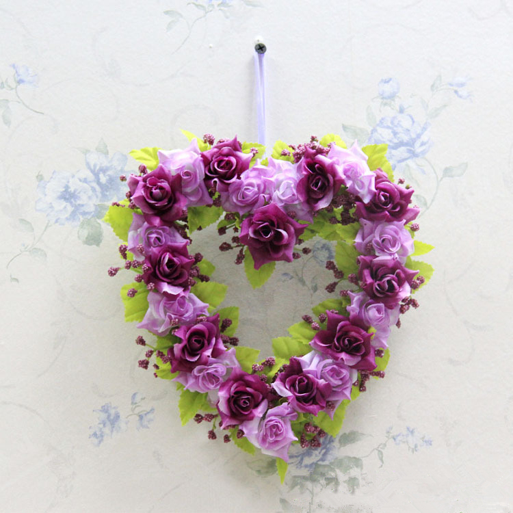 Fake Flowers Silk Flowers Heart shaped decorative flowers wreaths Home Decor Gift Artificial Flowers for Wedding Decorations(China (Mainland))