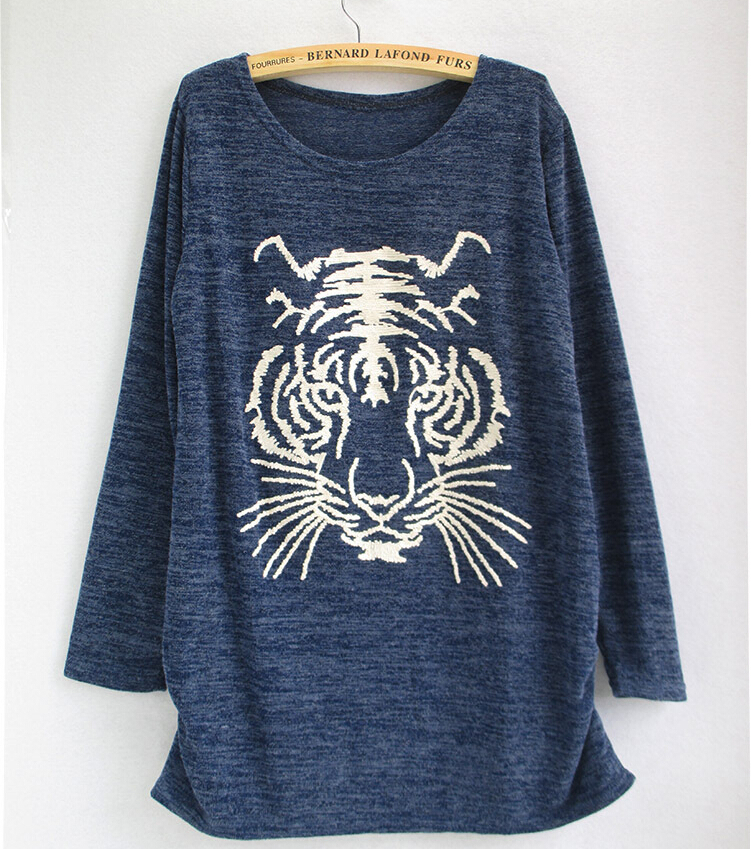 new simple design t shirts head of tiger printed lady long sleeved women casual autumn and winter style t shirt free size(China (Mainland))