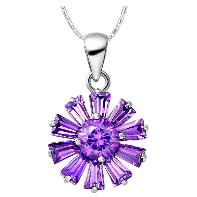 Wholesale Long Chains Necklace White Gold Plated Fashion Women Jewelry Necklace Flower Crystal Pendant Purple Hot Wheels N955(China (Mainland))