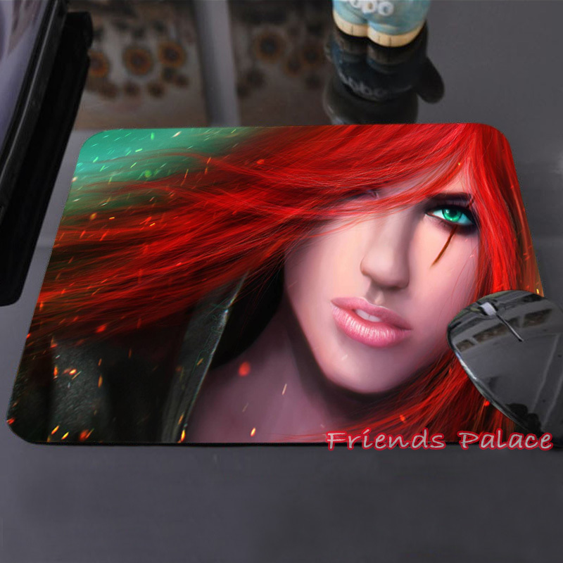 Miss Fortune Custom Made Silicon Mouse Pad Red Hair Sexy Lady Green Eyes Printed Mouse Mat 250x290x2mm 180X220X2mm Mice Pads(China (Mainland))