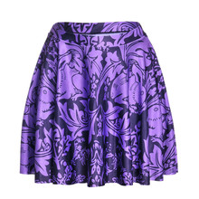 Buy Purple Rabbit 3D Digital Printed Skirt 2016 Summer Style Women Skirt Stretch High Waist Flared Pleated Mini Skirts S M L size for $12.31 in AliExpress store