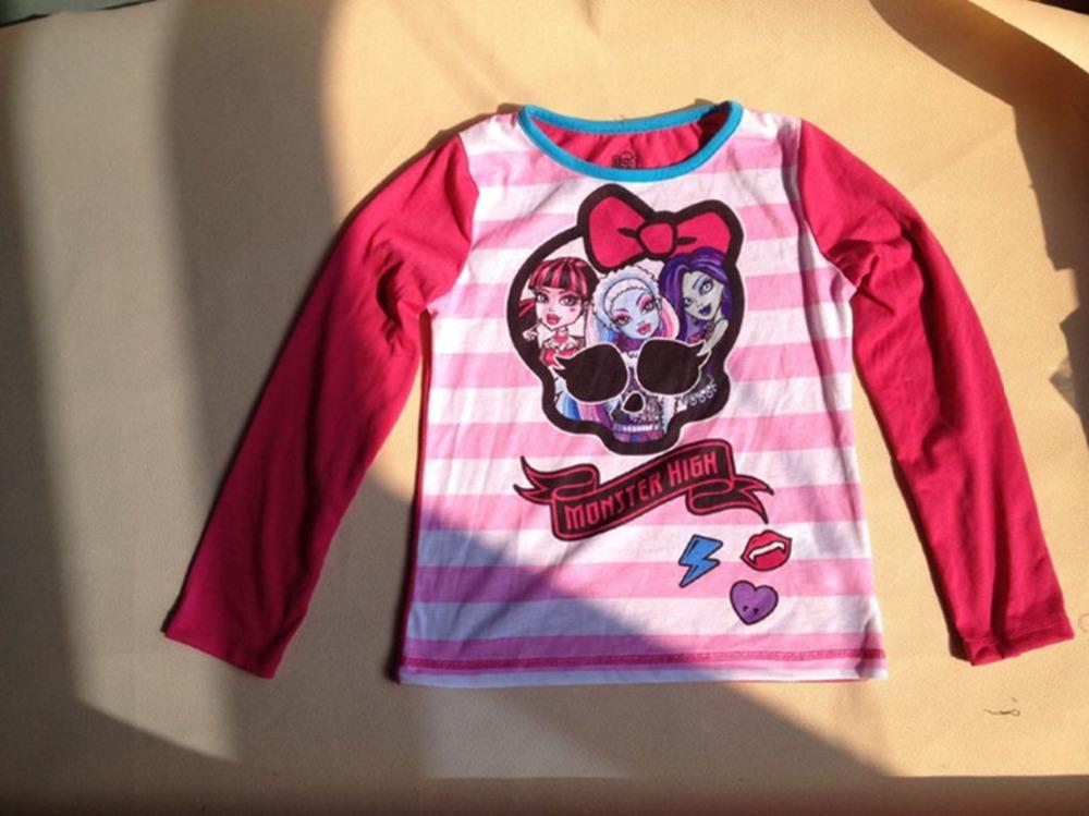 2015 Monster High Girls T shirts Cotton Long Sleeve O-neck Monster High Kids T-Shirt Monster Hight Clothing New Fashion YA028(China (Mainland))