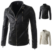 Fashion Casual Special Design Suits 2015 New Arrival Slim Fit Leather Black/White Colors Fashion Men's Jackets(China (Mainland))