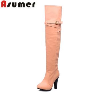 2016 новых прибыть высокое качество искусственная кожа более-сапоги мода высокий каблук пряжкой круглым носком ботинки женщин
