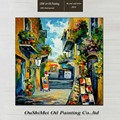 China Oil Painting on Canvas Street Landscape Impressionist Handpainted Oil Painting for Home and Cafe Decoration
