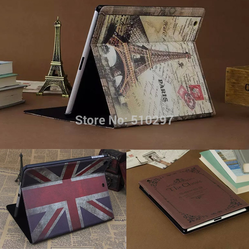 Wholesale Fashion Smart PU Leather Book Case Cover Stand For Apple iPad Mini 1 2 3 mini2 mini3 Retina England Eiffel Tower(China (Mainland))