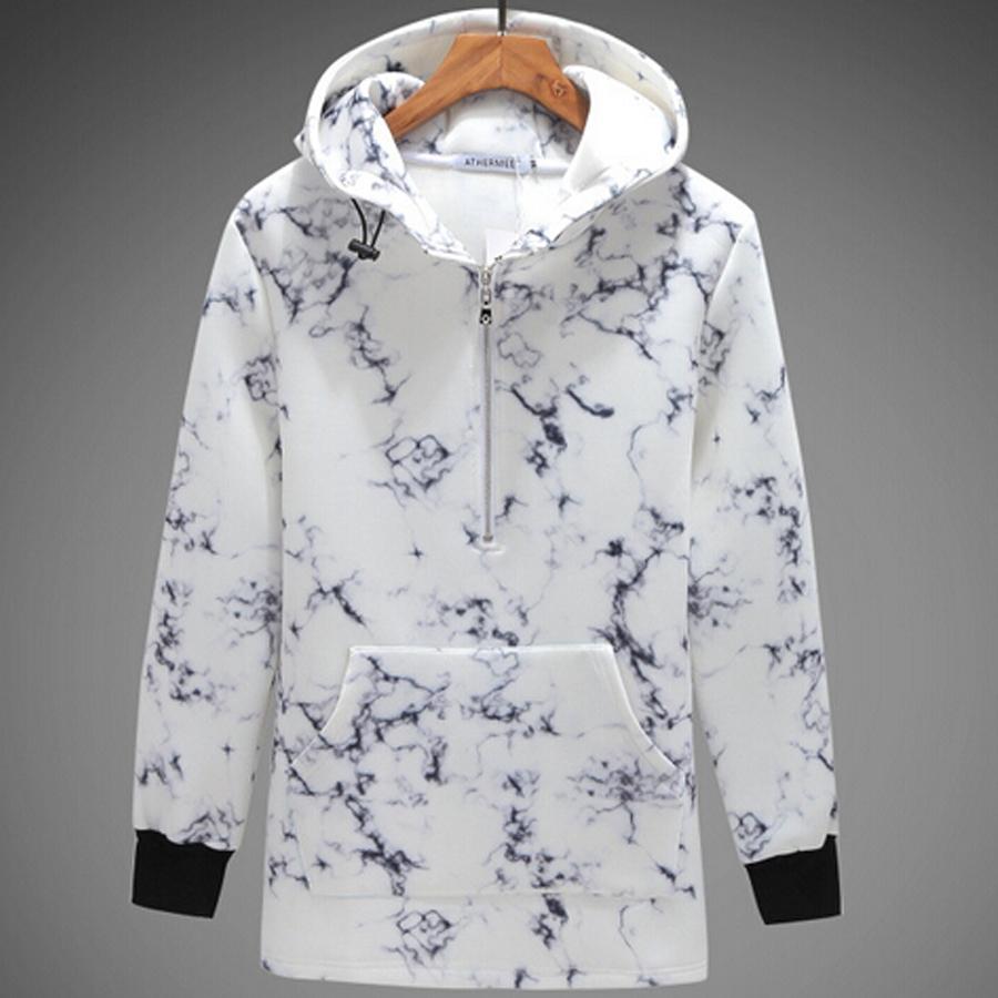 Long hooded hoodie men fashion designer print hip hop hoodies sweatshirts with zipper front casual neoprene hoodie Nora301138