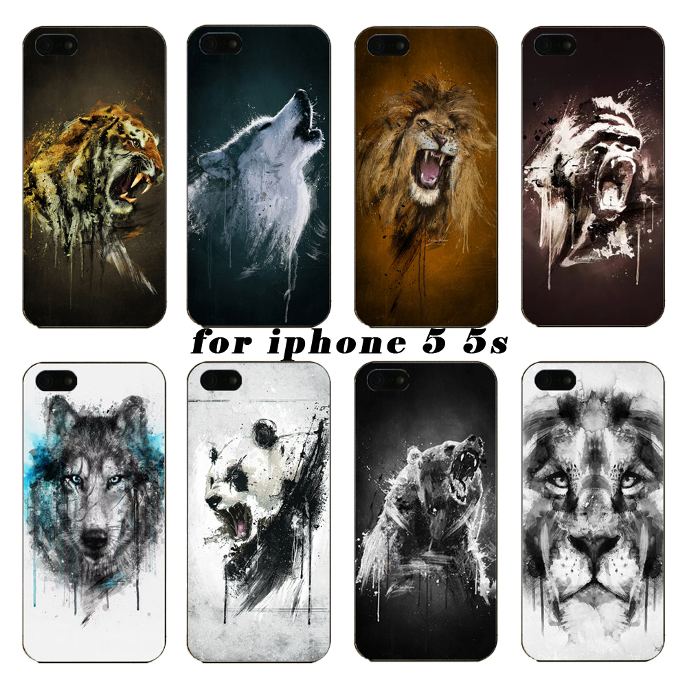 Under the latest tiger watercolor animal orangutan on wolf protection shell the for iPhone5 5S phone cases,Free shipping(China (Mainland))