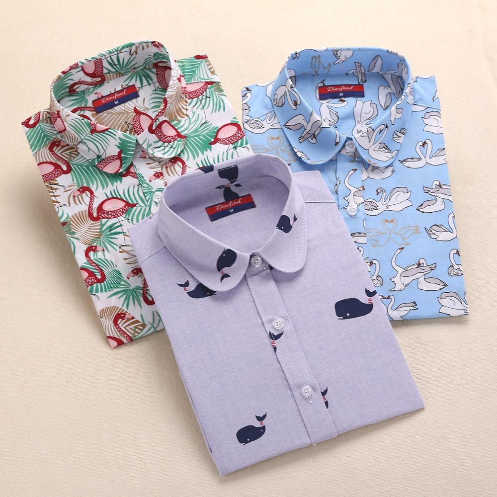 2016 Harajuku Print Women Blouses Shirts Cotton Long Sleeve Ladies Tops Collar Blusas Big Sizes Clothing Summer Top Shirt 5XL(China (Mainland))