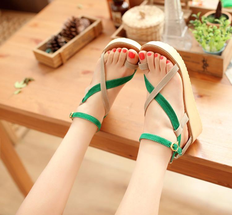 Women Sandals 2016 Fashion Ladies Wedge Sandals Summer Buckle Cross Strap Sandals Platform Casual Women Shoes Sandalias Mujer