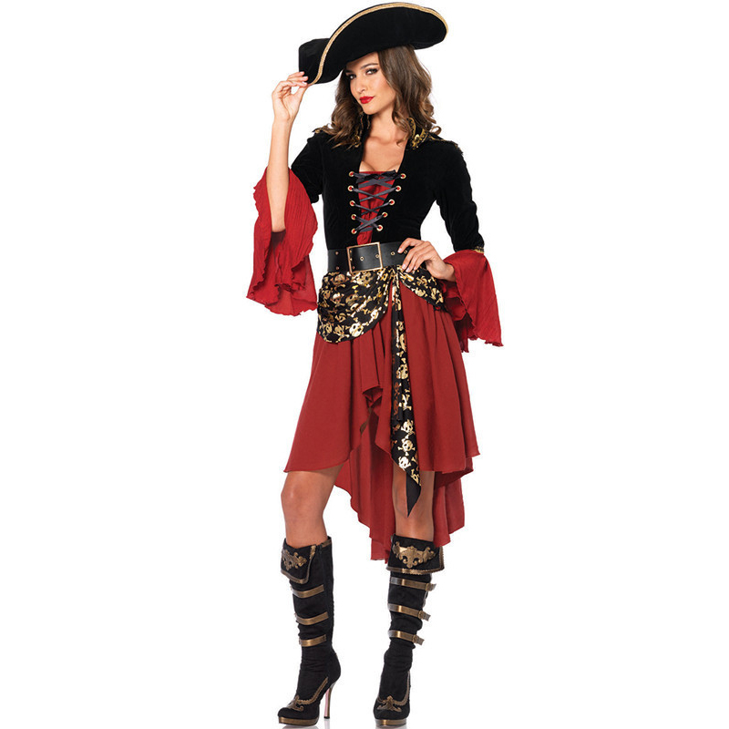extravagant skull  Pirates of the Caribbean costumes,female pirate cosplay, halloween costume for women AMN2866