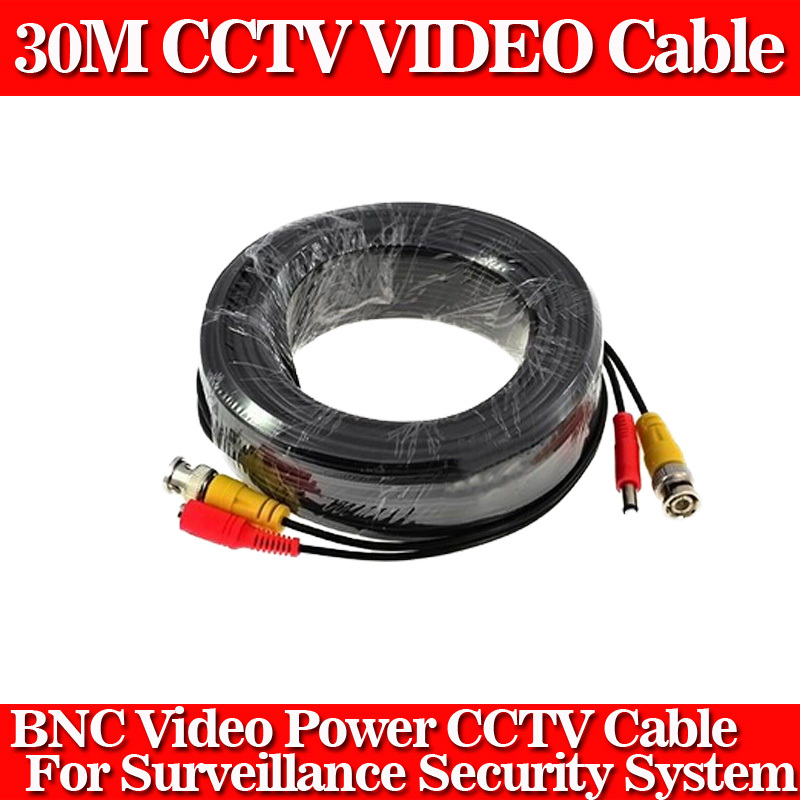 100FT cctv cable 30m BNC Video Power coaxial Cable bnc video output cable for cctv Security Camera(China (Mainland))