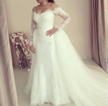 Buy Long Sleeve V Neck Wedding Dresses Removable Skirt Ivory Lace Elegant Detachable Bridal Gowns Vestido De Noiva Com Renda for $239.00 in AliExpress store