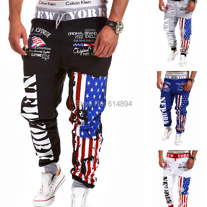 2015 fashion Men sweatpants letters printed Motion Casual joggers pants Novelty Hip-hop personality trousers - Special fine men's clothing store