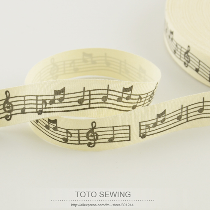 2.5CM width Zakka cotton ribbons mini.order is $5(mix order)cloths sewing tape music note label TOTO sewing accessory clothes(China (Mainland))
