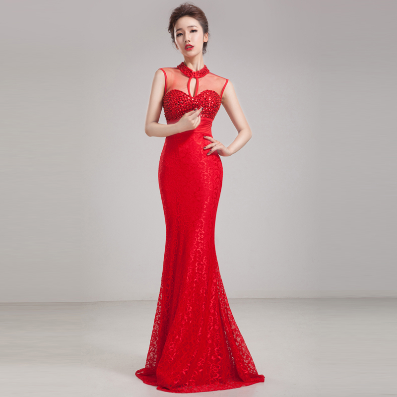 Lace Evening Dress 2014 Long Sequins Mermaid Red Blue Purple Custom Formal Prom Gowns for Women Plus Size Free Shipping(China (Mainland))