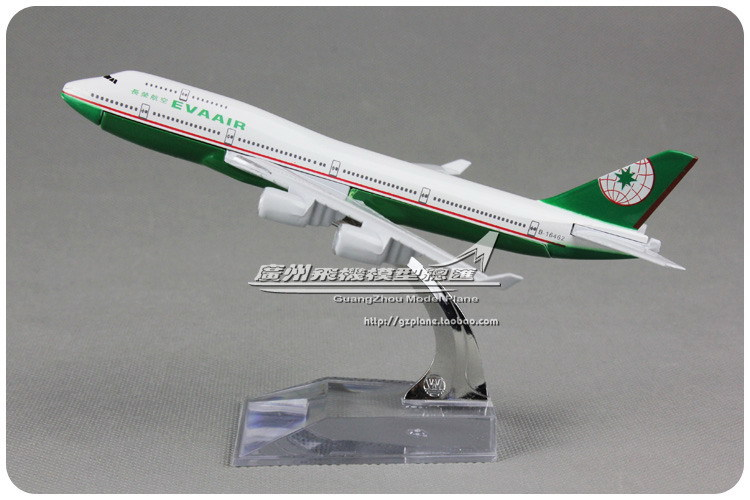 16cm Alloy Taiwan EVA AIR Airlines Airplane Model Boeing B747 400 Airways Plane Model Toy Free Shipping(China (Mainland))
