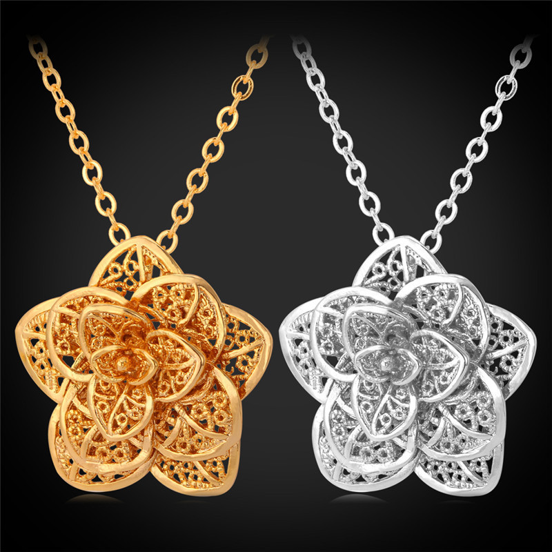 Pendants Necklaces 18K Real Gold / Platinum Plated 2015 New Jewelry Free Shipping Charms Flower Necklace Pendant For Women P101(China (Mainland))