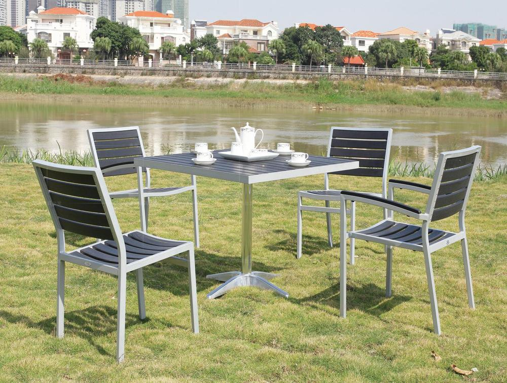 Balcony wood chairs wood chairs five piece aluminum frame for Balcony patio set