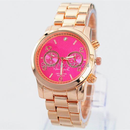 NEW Fashion luxury women watch pink dial/blue dial steel brand wristwatch Quartz Girl Japan Movement Wristwatch Clock(China (Mainland))