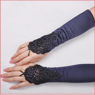 Hot Sale High Quality Bud silk long black 30CM bride's gloves, Bridal Wedding gloves Wholesale Free Shipping(China (Mainland))