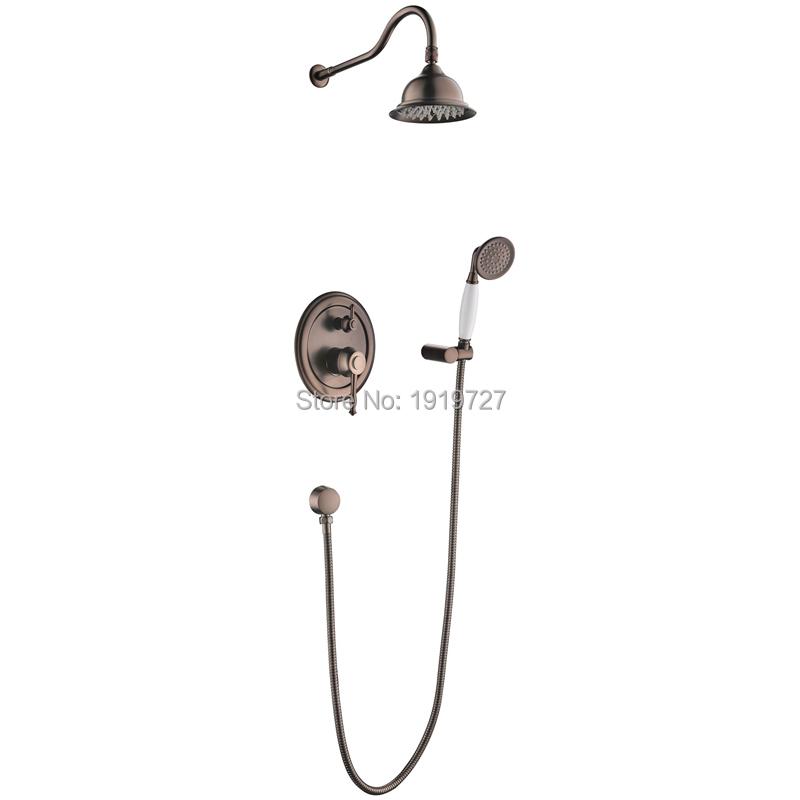 "Oil Rubbed Bronze Bath Shower Faucet Set 8"" Rain Shower Head & Hand Shower Spray Factory Direct ORB Chrome Gold Shower Trim Set(China (Mainland))"
