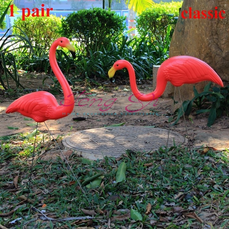 1pair plastic red flamingo garden yard and lawn art. Black Bedroom Furniture Sets. Home Design Ideas