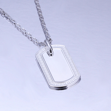 925 sterling silver jewelry 2015 fashion jewelry silver rectangle medal plate tag pendant link chain necklace