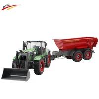 RC Car 8 Channel  4 Wheel Loader Remote Control Farm Tractor Manual Detachable Dumper Trail With Skip Bucket