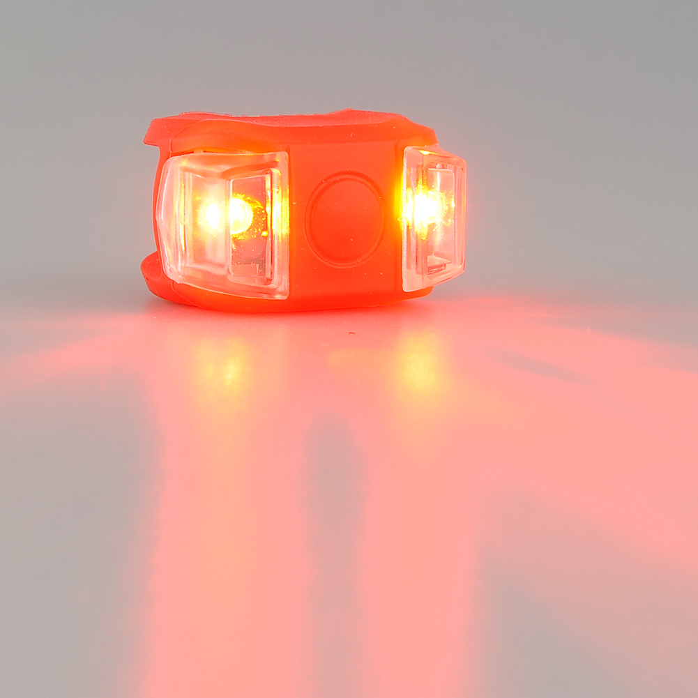 Bicycle Bike Silicone Safety LED Warning Lamp Front/Rear Tail Bright Flashing Lights Waterproof Red Free shipping(China (Mainland))