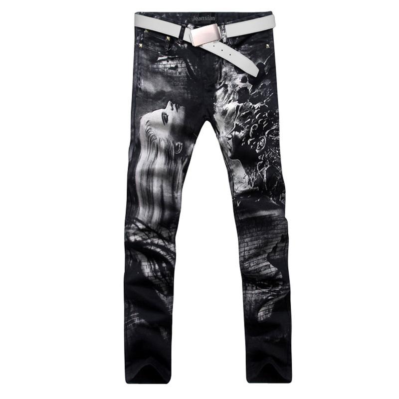 2016 new fashion straight leg jeans long men male printed denim pants cool cotton designer good quality brand trousers  MJB024