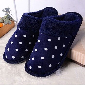 Men Polka Dot Solid Shoe Men's Cotton Padded Home Slippers Winter Warm Foot Soft Plush Indoor Floor Antiskid Slipper Man Shoes