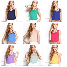 AliExpress |blusas femininas 2015 Tank Cute Candy Color Women Blouse Tropical Tops Casual Chiffon Blouse Cheap Clothes China ropa mujer XXL