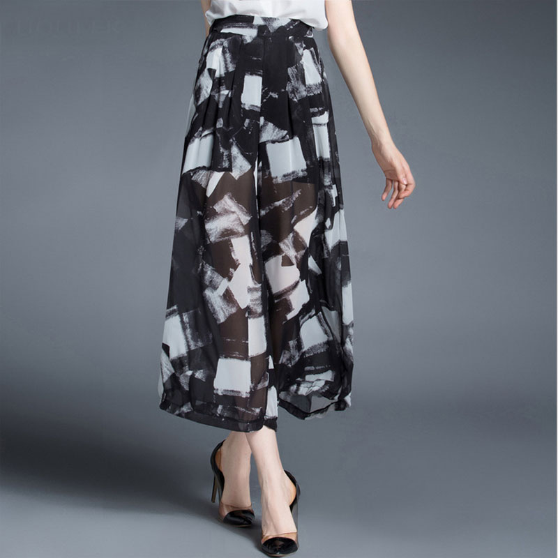 Women plus size wide leg pants trousers 2016 Summer Fashion print chiffon Wide leg pants Casual loose high waist trouser ladies(China (Mainland))