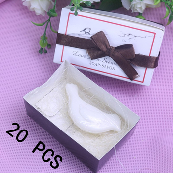 20Pcs White Love Bird Scented Soap Boxed For Baby Shower Wedding Favours Party Bomboniere Home Party Favors Gfit Supply