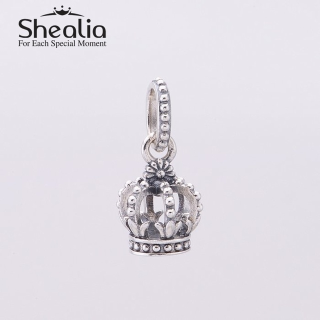 Винтажный женщины кулон корона мотаться бусины 925 чистое серебро ювелирные изделия изделий подходит пандора стиль браслеты своими руками