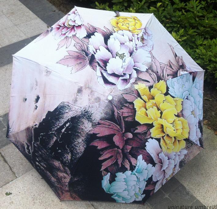 Chinese traditional oil painting umbrella colorful flower sunflower anti-uv sun unbrella(China (Mainland))