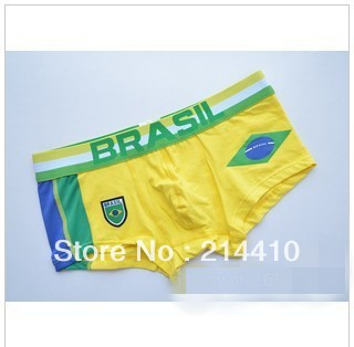 3546 New fashion men's national print edition combed cotton boxer underwear Brazilian football World Cup Flag Edition(China (Mainland))