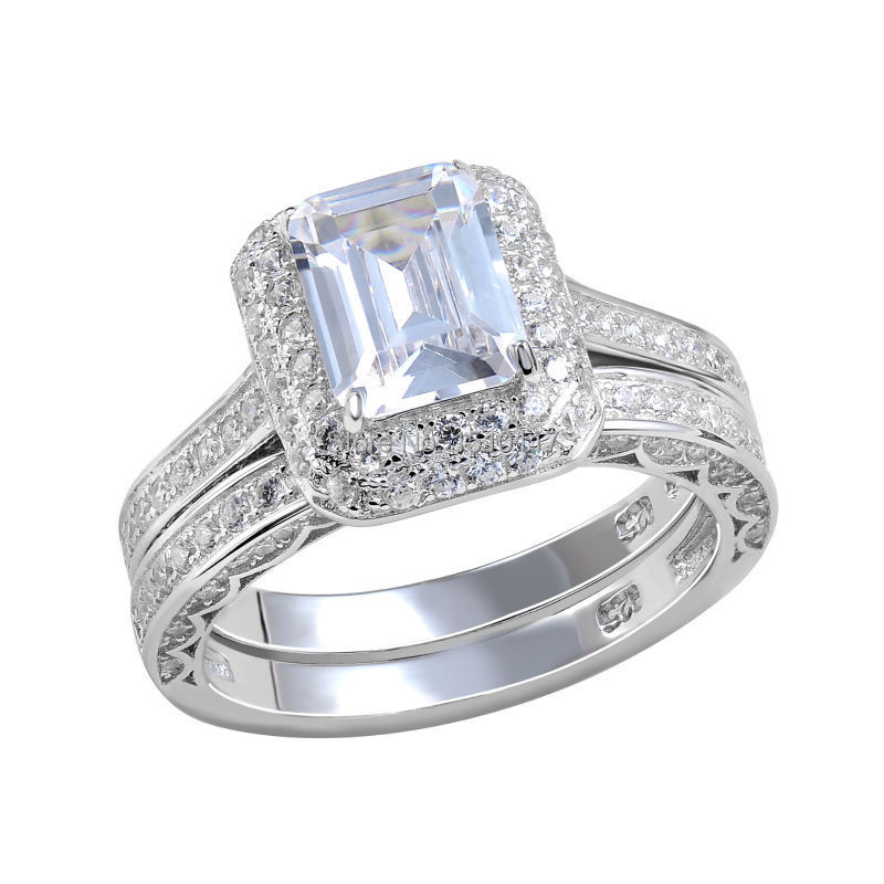 Platinum Plated Wedding Ring Bridal Sets Emerald Cut CZ Engagement Band Class