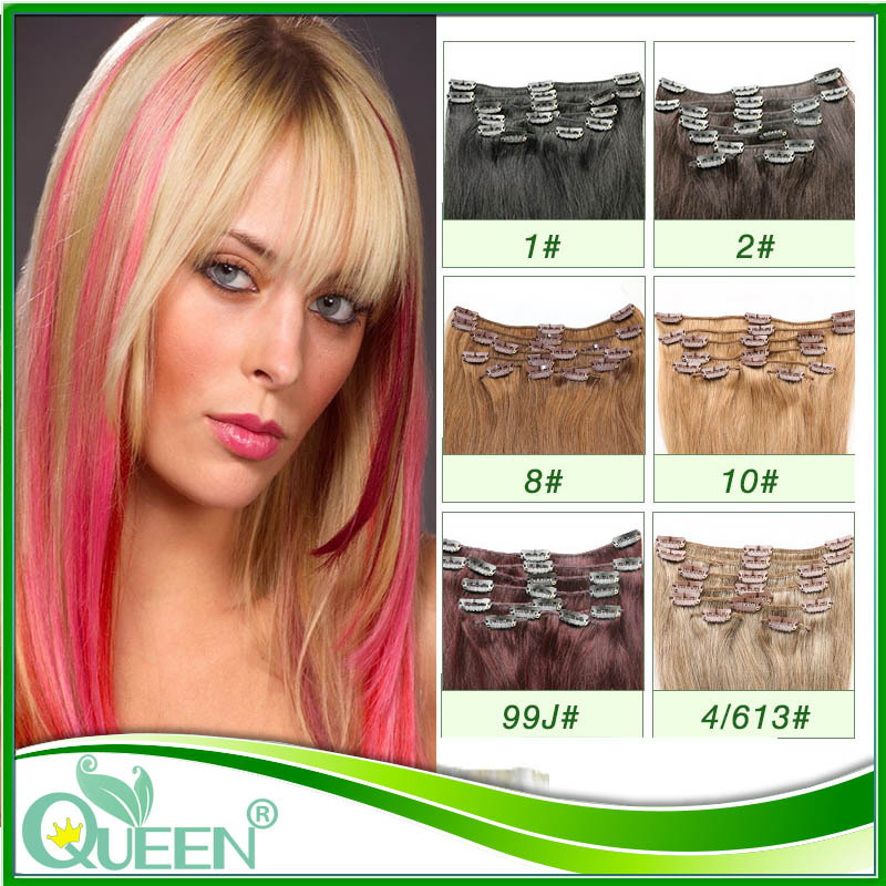 Clip in Human Hair Extension Mongolian Clip In Extension 8pcs/set 6A Grade Remy Clip In Hair Extension Straight Virgin Hair(China (Mainland))