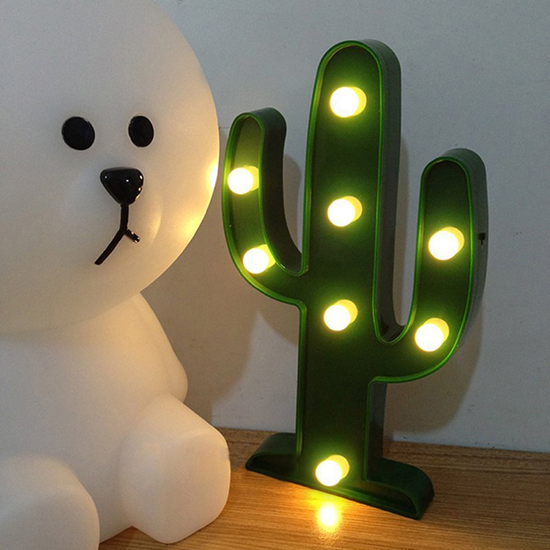 Cute Cactus Light 3D LED Lamp Night Light Luz Escritorio Table Light Lamp Battery Operated Christmas Decorations For The Home(China (Mainland))
