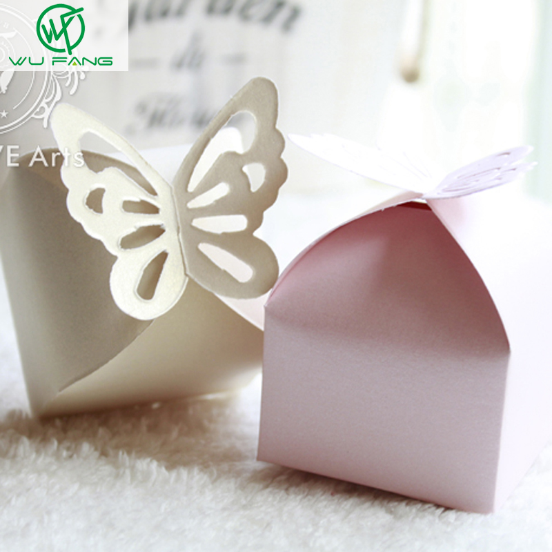 50Pcs Butterfly Candy Box DIY Folding Party Wedding boda Decoration Gift Paper Favors Boxes White/Pink for Wedding Decoration(China (Mainland))