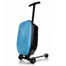 100%PC fashion 21 inches students scooter suitcase boy cool trolley case 3D extrusion business Travel luggage child Boarding box(China (Mainland))