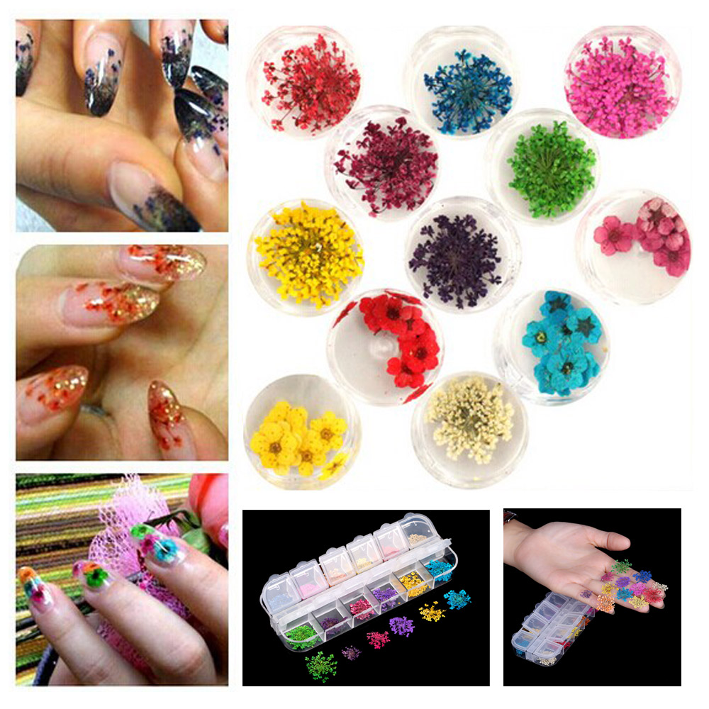 12 Colors Real Nail Dried Flowers Nail Art Decoration DIY Tips with Case Small Flowers Nails Tools Rhinestones Decorations(China (Mainland))