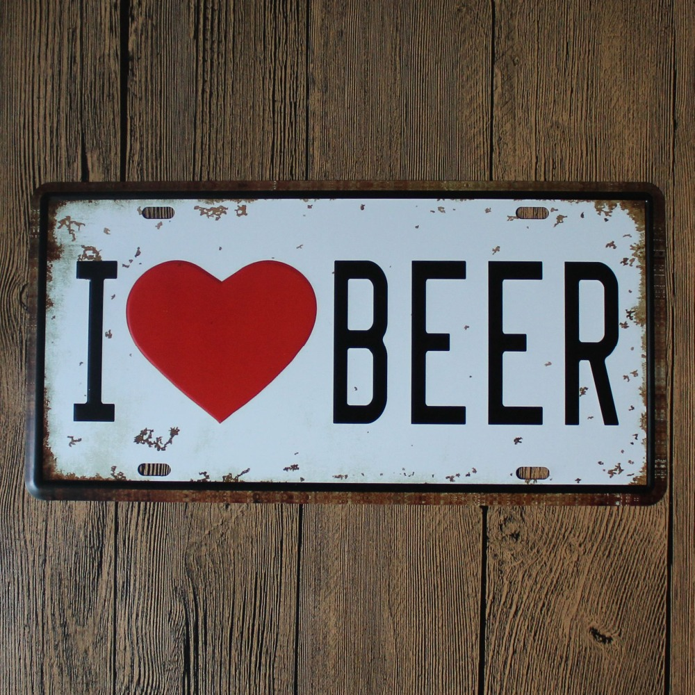 Restaurant Bar Wall Decor : Aliexpress buy sun i love beer license plate