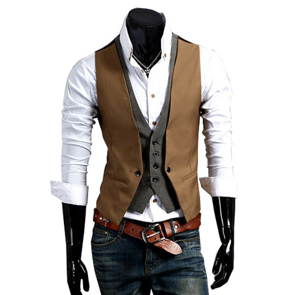 2015 Hot Sale Men Fake Two-piece Suit Vests Men's Fitted Waistcoat Casual Business Jacket Size M-2XL(China (Mainland))